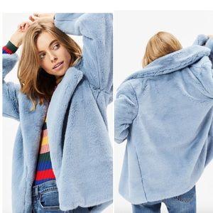 Somedays Lovin Take It On Blue Faux Fur Jacket - L